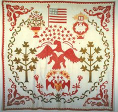 Quilt dated 1848 with a scallop border and a many free-cut five-pointed stars.