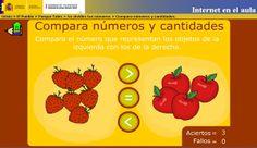 """""""Compara números y cantidades"""", de Internet en el Aula, es un sencillo juego que permite comparar números, cantidades de diversos objetos y cantidades monetarias hasta el número 10. Persigue la interiorización y mecanización del uso de los signos de comparación <, >, =."""