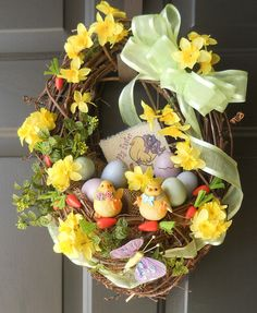 EASTER Basket Baby Chicks Wreath, Easter Eggs, by PebbleCreekDesigns