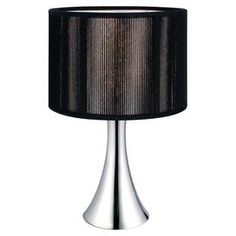"""Tapered table lamp finished in polished chrome and topped with a black fabric drum shade.Product: Table lampConstruction Material: Iron and fabricColor: Polished chrome and blackFeatures: Base is touch dimmingAccommodates: (1) 60 Watt A bulb - not includedDimensions: 12"""" H x 7"""" Diameter"""