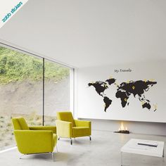 World Travel Map on Whole Wall (but where people that the girls know are instead)