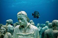 underwater permanent museum, Mexico. SWIM HERE