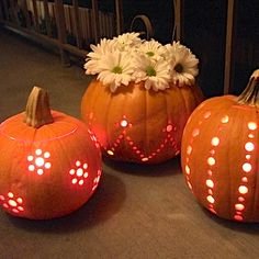 Carve pumpkins with a drill.
