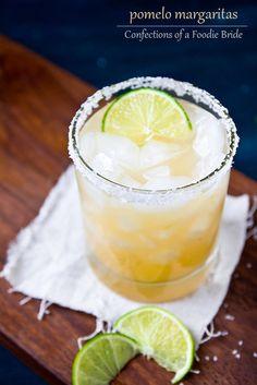 Pomelo Margarita:  6 oz pumelo juice  2 oz lime juice  3 oz tequila  2 oz orange liqueur  Salt, for rim (optional)  Simple syrup, to taste (optional)