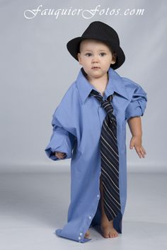 Fauquier Fotos   Warrenton, VA   Children, boy in dad's shirt and tie, 2 yr old, studio, photography, portrait