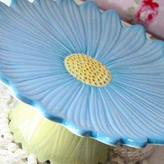 Blue and Yellow Daisy Cake Plate Dessert Pedestal CupCake Plate