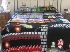 Mario crochet blanket