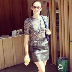 Emmy Rossum in her Kenneth Cole Tallulah Skirt