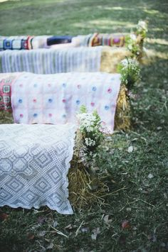 Love the blankets on hay bales… www.blissevent.ca