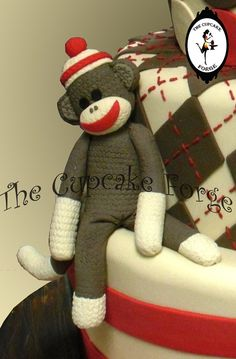 Handmade Sock MONKEY fondant cake toppers and by TheCupcakeForge