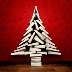 Click through to see 12 book trees holiday, book lovers, books, christmas tree ideas, christma tree, book tree, diy christmas tree, christmas trees, tree of life