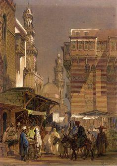 Old Cairo (corner of Midan al-Hussein) by Amedeo Preziosi