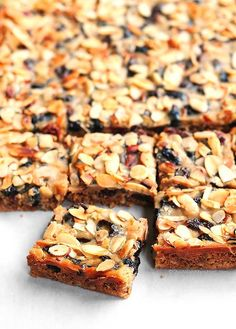 homemade granolal bars with oatmeal almonds and cherry