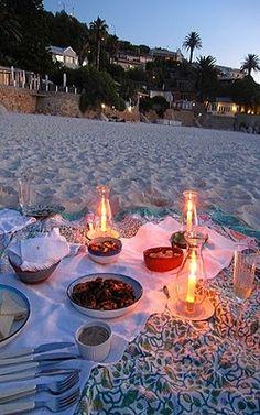romantic picnic on the beach
