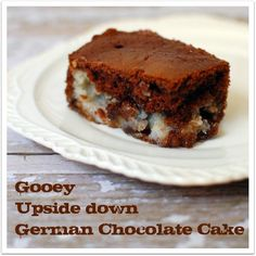 Gooey Upside down German Chocolate Cake at TidyMom.net