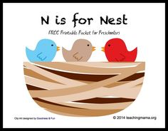 N is for Nest — Letter N Printables from Teaching Mama