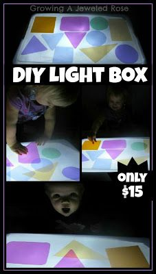 DIY Light Box: tub lined with black paper on bottom, wax paper on top, xmas lights inside. love it