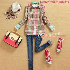 2013 moda outono estilo preppy 100% algodão camisa xadrez de manga comprida camisa fino outerwear mulheres em Blusas - Feminino de Roupas & ...