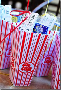 """Movie night/Drive-in party: Includes concession tickets, movie snacks, red carpet, stars, movie reels, """"now playing"""" signage, popcorn cupcakes, etc!   These Are The Days: 8 is Great – Part 2 {The Party}"""