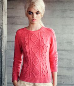 coral, fashion, style, daphn groeneveld, knit sweaters, daphne groeneveld, crochet sweaters, inspir, fall sweaters