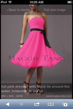 Fun pink and black bridesmaid dress