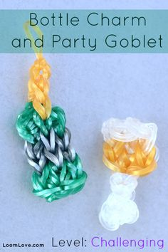 How to Make a Rainbow Loom Bottle Charm and Party Goblet #rainbowloom