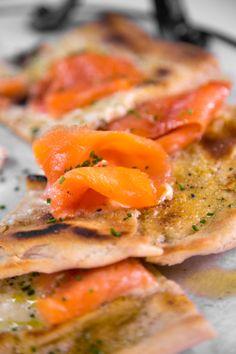 Mario Batali's Smoked Salmon Pizza  recipe: http://beta.abc.go.com/shows/the-chew/recipes/Smoked-Salmon-Pizza-Mario-Batali