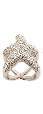 Silver Metal Rhinestone Starfish Ring