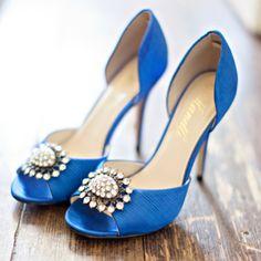 Embellished blue bridal heels | Glass Jar Photography