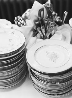 random plates and silver--purchased at antique malls/flea market/thrift stores