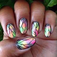 Stained Glass Butterfly Nails - @Raqstarnails