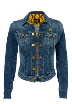 Step out in style this Autumn/Winter 2013-14 with Vivienne Westwood's distinctive denim jacket. In addition to two pockets on the chest, this piece comes crafted with a zip fastening and finished with metal Orb button detailing. With a small skull and crossbones embroidery on the chest, roll up the cuffs to reveal Vivienne's famous yellow squiggle print.