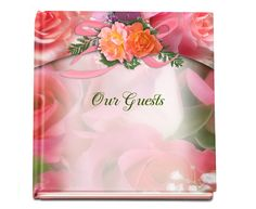 Gorgeous Registry Book Floral Rosy Glossy Hardcover 8x8 Guest Book, add a photo on the front cover (optional)