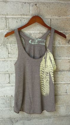 Cocoa and Pale Yellow Feathers TriBlend Racerback by BlondePeacock, $18.00