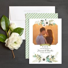 Painted Blooms Save The Date Cards by Emily Crawford | Elli