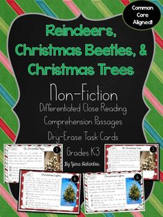 Reindeers, Christmas Beetles, Christmas Trees Non-Fiction Reading K-3 from SeaofKnowledge on TeachersNotebook.com -  (4 pages)  - Reading Comprehension Task Cards: This pack would make a good addition to your unit during November/December. I created for use for reading & comprehension fluency. These cards are non-fictional passa