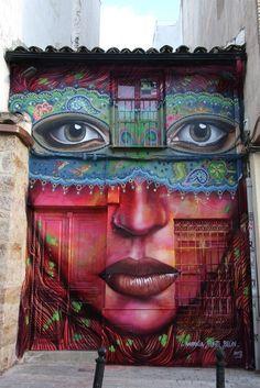 jean, orang, painted houses, graffiti, street art, mural, artist, eye, streetart