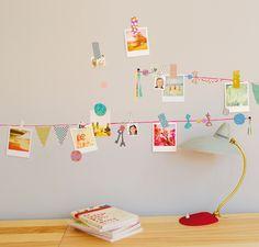sticker garland . washi taped photos