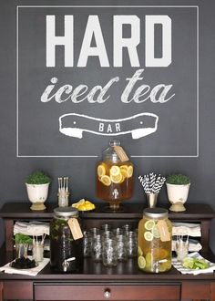 hard iced tea bar for summer parties