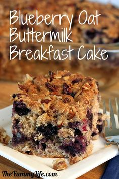 Blueberry Oat Buttermilk Breakfast Cake with Streusel Topping. TheYummyLife.com