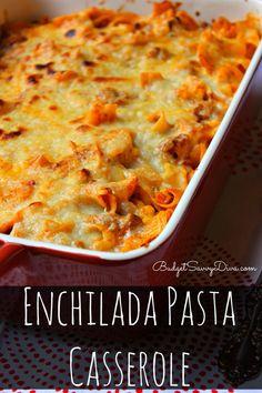 Enchilada Pasta Casserole Recipe #pasta #dinner #recipe #easyrecipe #enchilada #budgetsavvydiva via budgetsavvydiva.com