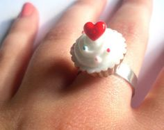 Cute Kawaii Polka Dot Heart Cupcake Cabochon Ring, Kitsch, Retro, Quirky, Food, Cake