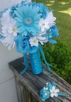 Turquoise Rose White Rose Turquiose Daisy by SilkFlowersByJean, $65.00