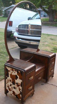 Vintage Art Deco Western-Country WaterFall Vanity Low boy Dresser Vanity via Etsy.