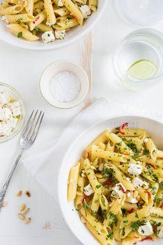 pasta with feta, chili and lemon