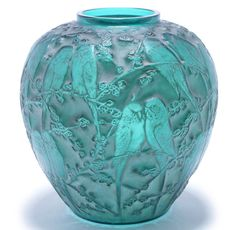 René Lalique 'Perruches' a Vase, design 1919 green glass, frosted and polished, heightened with white staining 25cm high, engraved 'R. Lalique'