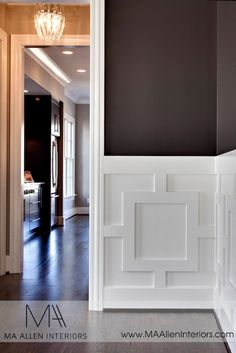 MA Allen Interiors: Stunning dining room with dark chocolate brown walls paired with white geometric wall ...