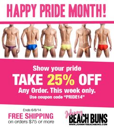 Happy Pride Month! Take 25% Off at www.johnnybeachbuns.com