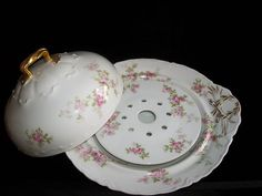 Antique Haviland Limoges 3 Piece Covered Butter Dish Schleiger Pink Floral