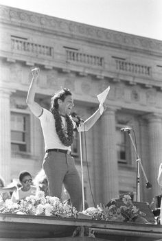 The Hope Speech. Harvey Milk addressing crowd from stage at San Francisco Gay Day Parade. 1978.